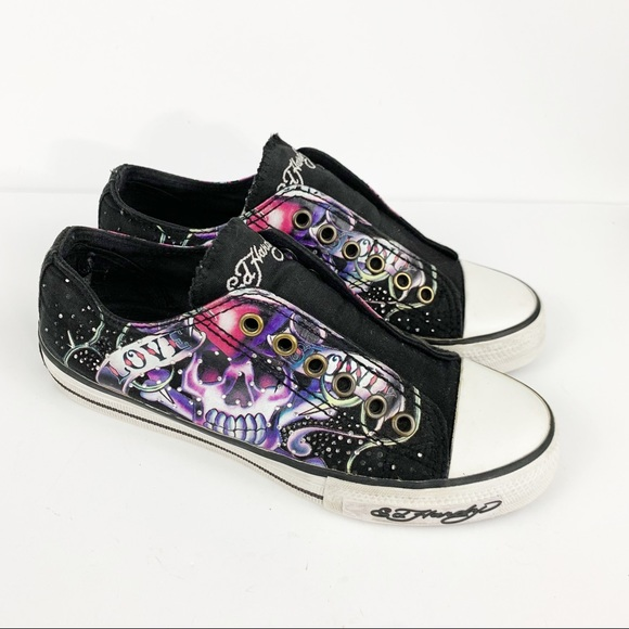 8fb70539d Ed Hardy Shoes | Slip On Skull Tattoo Sneakers Size 5 | Poshmark